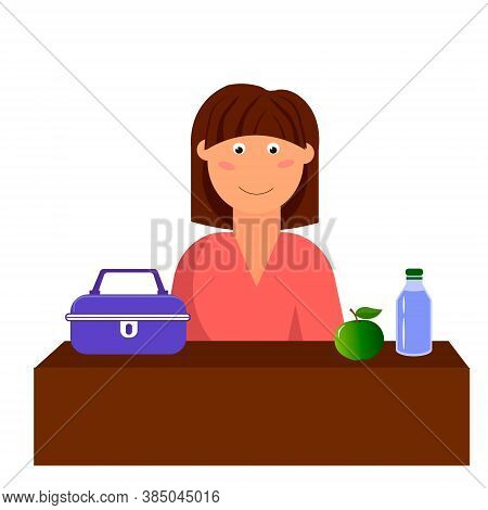 Lunch Box Lunch, Water And Apple. The Girl Is Having Lunch During Her Break. Vector Illustration Iso