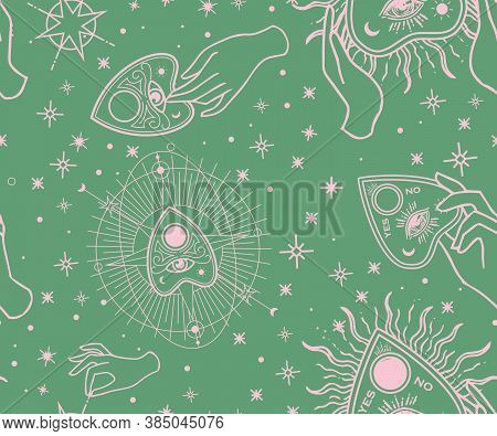 Seamless Pattern. Vintage Fortune Hands With Ouija. Sketch Graphic Illustration With Mystic And Occu
