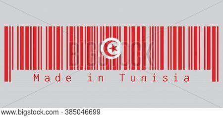 Barcode Set The Color Of Tunisia Flag, Red And White Flag With Star And Crescent In Center. Text: Ma