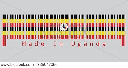 Barcode Set The Color Of Uganda Flag, Black Yellow And Red ; A White Disc Depicts The National Symbo