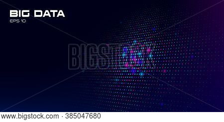 Big Data Visualization. Abstract Background Multicolored Data Units On A Dark Background With Depth