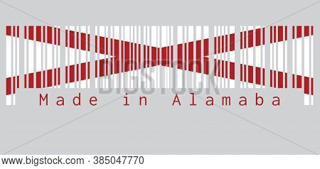 Barcode Set The Color Of Alabama Flag, The States Of America,  Red St. Andrew's Saltire In A Field O