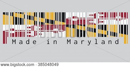 Barcode Set The Color Of Maryland Flag, Heraldic Banner Of George Calvert, 1st Baron Baltimore. Text