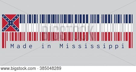 Barcode Set The Color Of Mississippi Flag, Three Horizontal Stripes Of Blue White And Red. Spans Two