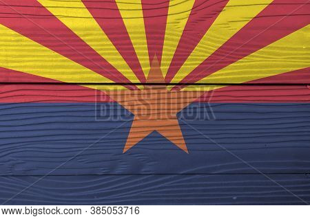Flag Of Arizona On Wooden Wall Background. Grunge Arizona Flag Texture, The States Of America,  Red