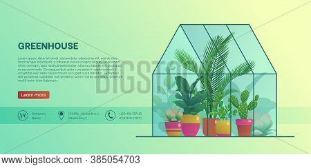 Greenhouse Landing Page Template. Home Glass Orangery With Various Plants, Organic Interior Design,