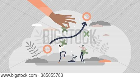 Avoiding Obstacles And Overcome Work Problems In Path Tiny Persons Concept. Business Strategy In Pro