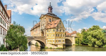 Panoramic View At The Old Town Hall With Bridge Over Regnitz River In Bamberg - Germany
