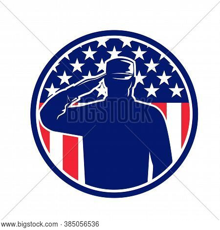 Retro Style Illustration Of An American Veteran Soldier Or Military Serviceman Personnel Saluting Th