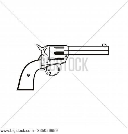 Stencil Illustration Of Colt Single Action Revolver Or A Wheel Gun, A Repeating Handgun With A Revol