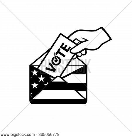 Retro Black And White Style Illustration Of A Hand Of An American Voter Posting Ballot Or Vote Insid