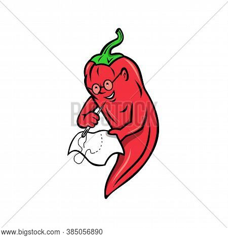 Mascot Illustration Of A Red Chili Pepper From Nahuatl Chilli Fruit Of The Genus Capsicum In The Nig