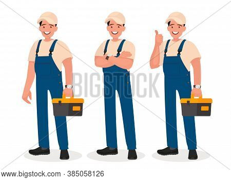 Happy Repairman Or Mechanic With A Toolbox. Set Of Different Poses.