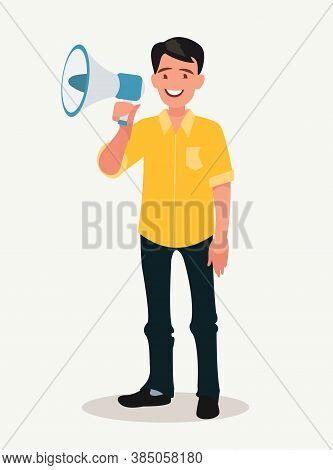 Joyful Man Speaks Into A Shout Or A Megaphone. The Announcement Of Good News.