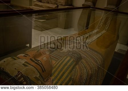 Architecture Sarcophagus And Sculpture From Egyptian Museum, Interior. El Cairo, Egypt 2018
