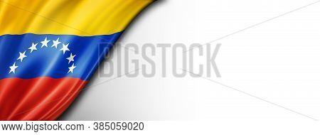 Venezuela Flag Isolated On White. Horizontal Panoramic Banner.