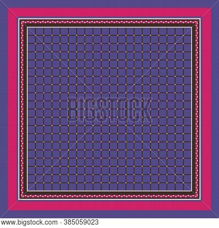 Square Pattern With Elegant Geometric Ornament. Vector Print For Handkerchief, Napkin, Rug.
