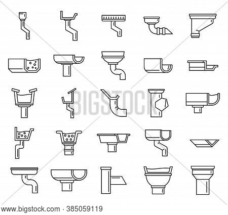 Gutter Drain Icons Set. Outline Set Of Gutter Drain Vector Icons For Web Design Isolated On White Ba