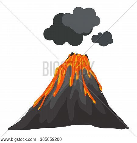 Smoking Eruption Volcano Icon. Cartoon Of Smoking Eruption Volcano Vector Icon For Web Design Isolat