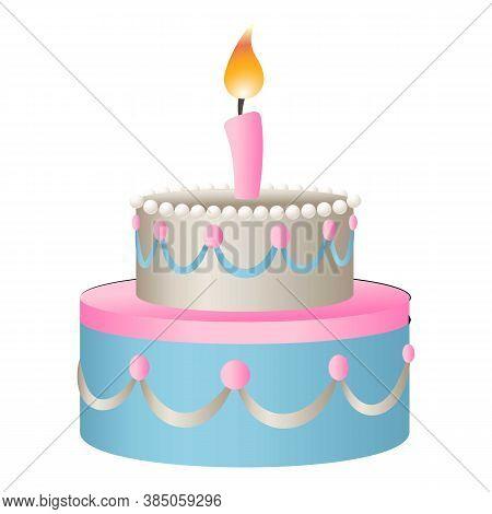 Fun Birthday Cake Icon. Cartoon Of Fun Birthday Cake Vector Icon For Web Design Isolated On White Ba