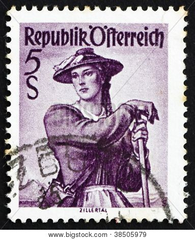 Postage stamp Austria 1948 Woman from Ziller Valley