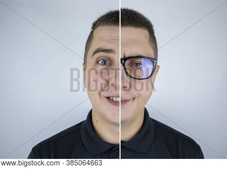 A Man With Glasses Before And After. On One Half, The Face Is Happy Without Glasses, And On The Othe