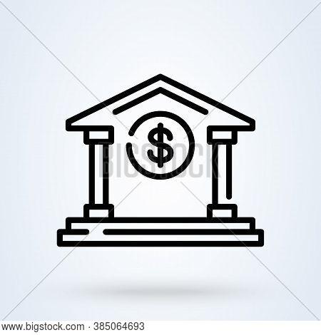 E-banking Or Bank Building Sign Line Icon Or Logo. Internet Banking Concept. Online Financial Busine
