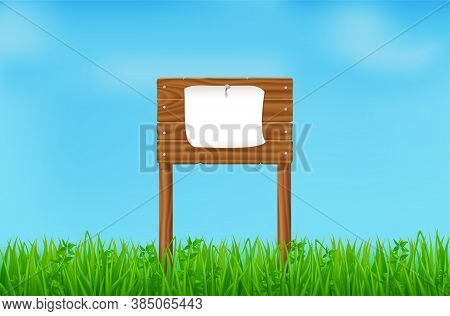 Wooden Board With Pinned White Sheet On Green Field Or Lawn. Vector Landscape With Grass And Signboa