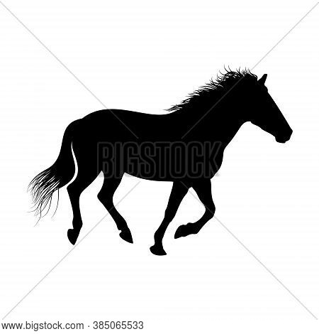 The Black Silhouette Of One Galloping Horse Is Isolated On The White Background.