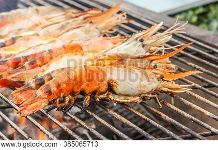 Grilled Shrimps On The Charcoal Stove Grate.