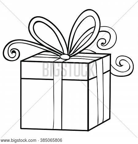 Sketch Of A Box Tied With A Big Bow, Gift, Coloring Book, Cartoon Illustration, Isolated Object On A