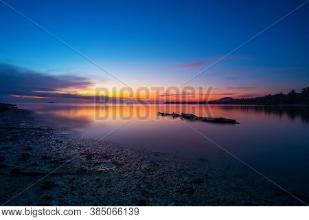Colorful Twilight In Evening Over Seascape At Ao Wok Tum, Koh Phangan, Thailand. Long Exposure Photo