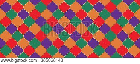 Ramadan Kareem Muslim Illustration. Seamless Moroccan Texture Ramadan Traditional Golden Mosque Moti