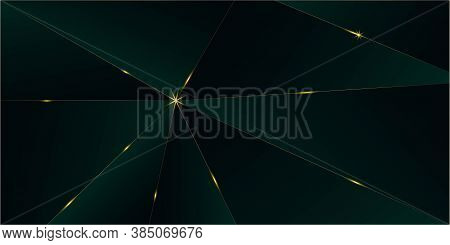 Emerald Luxury Gold Background. Royal Silver Business Border 3d Abstract Polygonal Sparkle Cover. Go