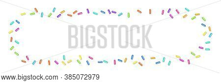 Sprinkle With Grains Of Desserts. Abstract Horizontal Pattern Bright Colorful Sprinkles Grainy Isola