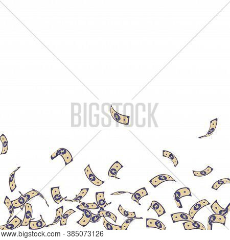 Chinese Yuan Notes Falling. Sparse Cny Bills On White Background. China Money. Ecstatic Vector Illus