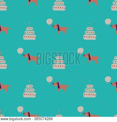 Dogs, Birthday Cakes, And Baloons Seamless Vector Pattern. Happy Surface Print Design In Bright Colo