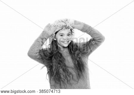 Softener For Woolen Garments. Soft Feelings. Playful Fashionista. Child Long Hair Soft Fur Hat Enjoy