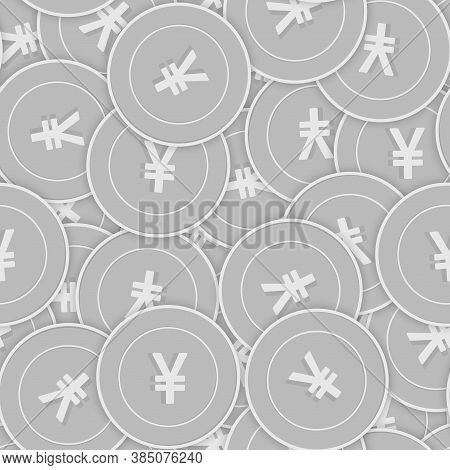 Chinese Yuan Silver Coins Seamless Pattern. Dazzling Scattered Black And White Cny Coins. Success Co