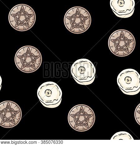 Pentacles And Candles Occult Signs Comic Style Doodles Top View Seamless Pattern. Wooden Pentagrams