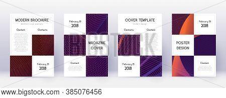 Business Brochure Design Template Set. Violet Abstract Lines On Dark Background. Alive Brochure Desi