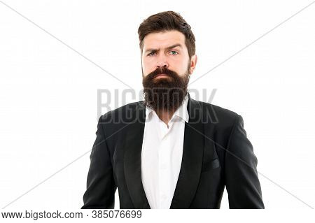 Barber Will Take Care Of You. Bearded Man Isolated On White. Hipster With Groomed Beard Hair. Mustac