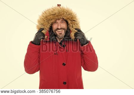 Giving The Man A Sense Of Style. Happy Fashion Model Wear Fur Hood Isolated On White. Mature Man In