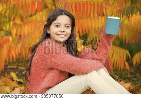 Every Morning Begins With Coffee. Happy Little Child Hold Cup With Hot Drink On Autumn Morning. Smal