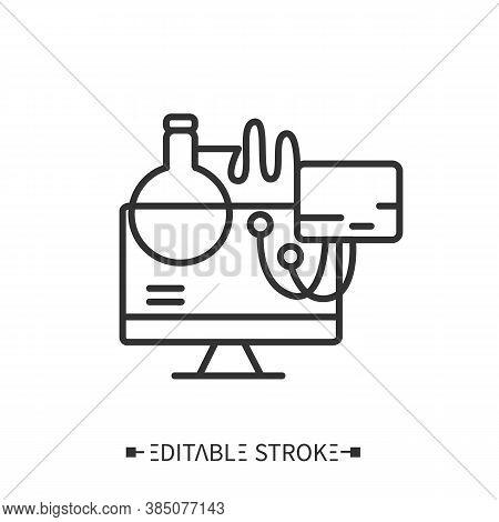 Computerized Diagnostics Line Icon. Modern Laboratory Equipment. Digital Technologies In Medicine Sc