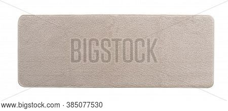 Carpet Rug Floor Mat In Beige Color (isolated With Clipping Path) On White Background In Long Rectan