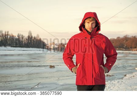 Christmas Vacation. Human And Nature. Man Walking Snowy Landscape In Sunset. Travel And Expedition C