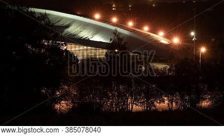Moscow, Russia - September 12, 2020. Night View Of The Moscow Business Center From The Krylatskie Hi