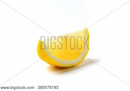 Fresh Sliced Lemon Isolated On White Background, Summer Fruits Concept