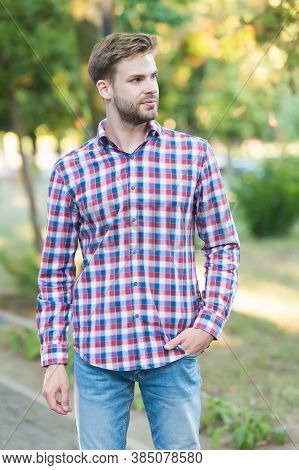 Male Beauty And Fashion. Guy With Bristle Wear Checkered Shirt. Concept Of Barbershop. Casual Fashio
